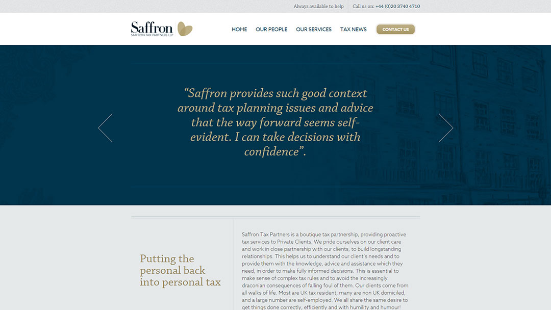 Saffron Tax website built by Pawel Osmolski