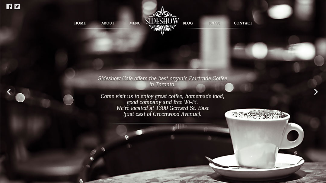 The Sideshow Café mockup design by Pawel Osmolski